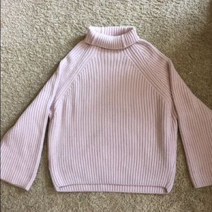 Sweaters - Women's M/L Pink Ribbed Bell Sleeve Turtleneck